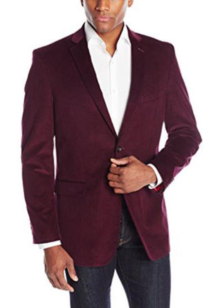 Mens Tonal Elbow Patches Cotton Corduroy Sport Coat Bordeaux