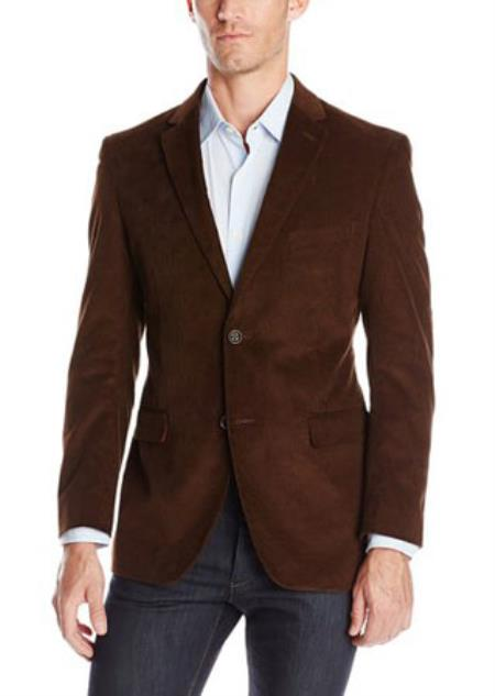 Mens Notch Lapel Cotton Corduroy Sport Coat Taupe