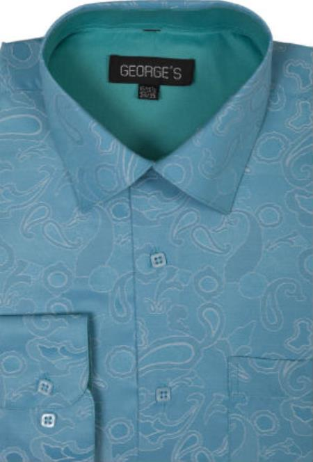 Turquoise Captivating front  George Cotton Dress Shirt