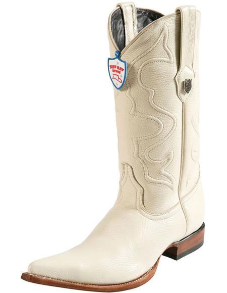 Mens Handmade 3x Toe Wild West Elk Leather Boots With Replaceable Heel Cap Cream