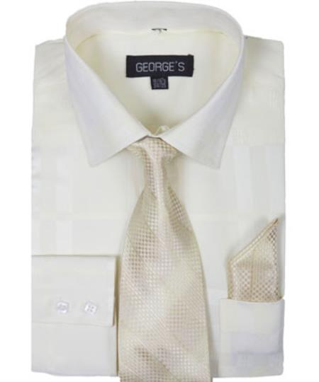 Cream 60% Cotton 40% Polyester Shadow Striped Tie with Hanky Men's Dress Shirt