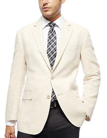 Mens ivory ~ cream ~ off white 2 button blazer ~ sport coat & dinner jacket