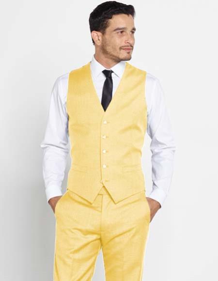 Mens 5 Button Vest Cream + Matching Dress Pants Set + Any Color Shirt & Tie