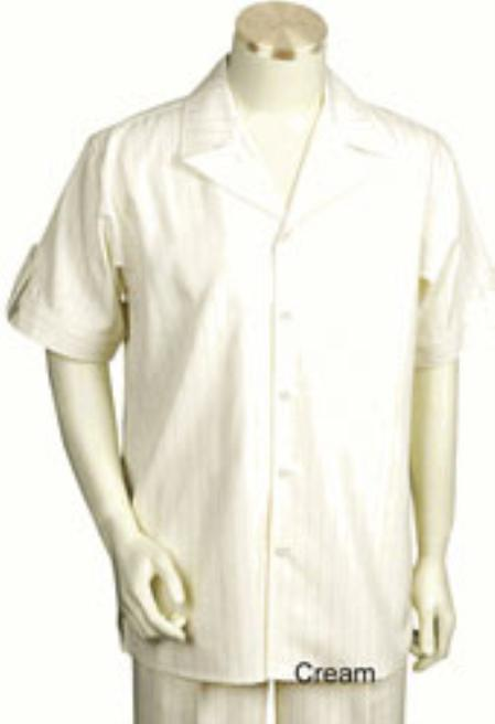 Mens Short Sleeve Soft Polyester Fabric Walking Outfit Leisure Casual Suit
