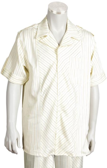 Buy KA0098 Leisure Walking Suit Men's 2 Piece Short Sleeve Walking Suit - Buttoned Accents Cream-Rust