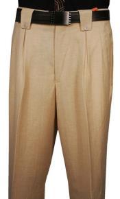 Men's Classic Fit Pleated Front Herringbone pattern Cream Wool Wide Leg Dress Pants  Men's Wide Leg Trousers