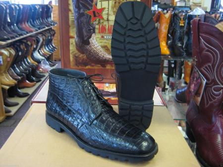 Genuine All Crocodile Caiman Black Men Ankle Boot Ankle Dress Style For Man