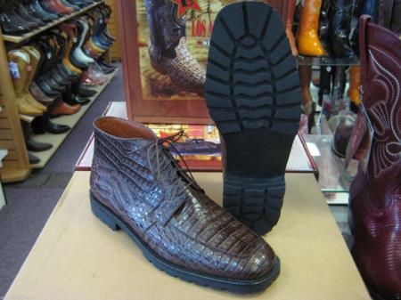 Mens Brown Genuine All Crocodile Caiman Ankle Boot