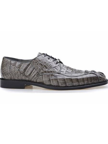 Men's Grey Genuine Hornback Crocodile Leather Lining Chapo Lace Up Shoes