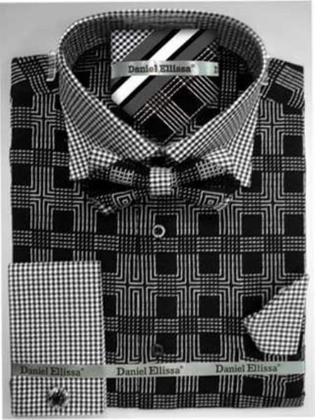 Daniel Ellissa Ds3779BP2 Men's French Cuff Black Men's Dress Shirt
