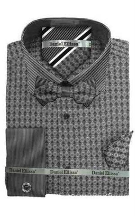 Daniel Ellissa Ds3779BP2 French Cuff Gray Mens Dress Shirt