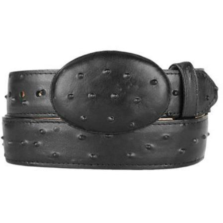 Ostrich Print (Imitation) Western Style Printed Leather Belt Black