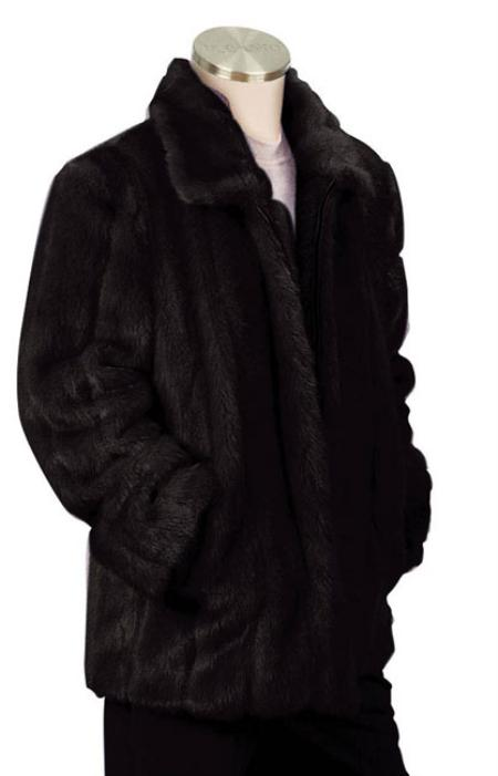 SKU#NK8392 Mens Stylish Faux Fur 3/4 Length Coat Black