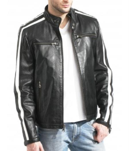 Moto With Sleeve Trim Black/White Big and Tall Bomber Jacket