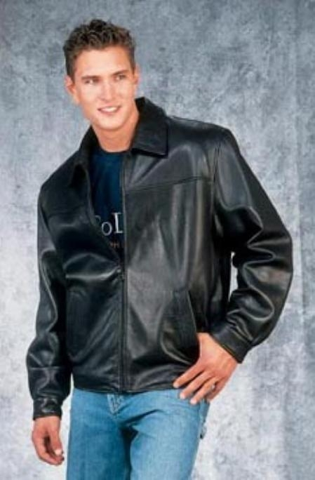 Mens Fashion quality Black Leather Big and Tall Bomber Jacket