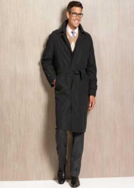 Mens Dress Coat Winter trench coat Rain Coat black