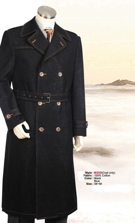 SKU#MU4552 Double Breasted Overcoat denim Jean Fabric Belted Full Length