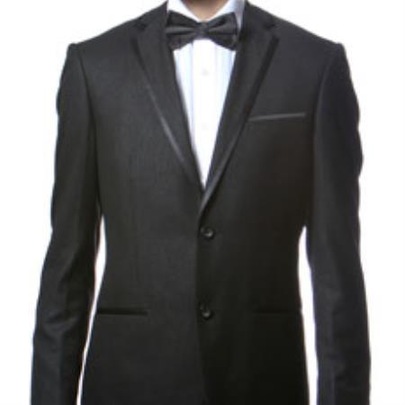 Buy K3X0B Slim Fitted Skinny Tapered Men's Trimmed Peak Lapel Black