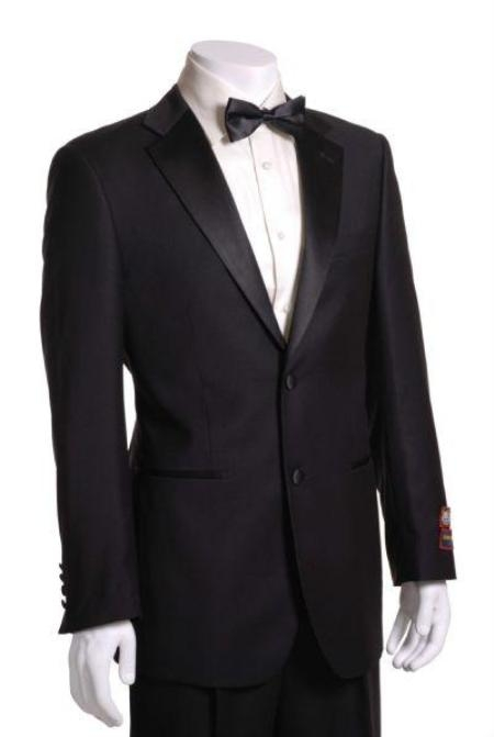 Mens Side Vented Jacket & Flat Front Pants Tuxedo - Super 150s Fabric Black