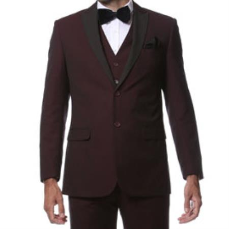 Slim Fitted Skinny Tapered Mens Trimmed Peak Lapel Burgundy ~ Wine ~ Maroon Black