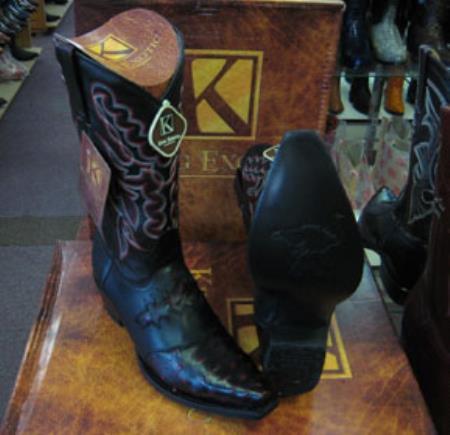 Buy MK939 Mens King Exotic Genunie Ostrich Cherry Black Snip Toe Western Cowboy Boot