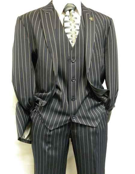 1920s Gangster Bold Pinstripe ~ Stripe Mens Stripe Mars Dark Blue Fashion Vested Suit Pleated Pants