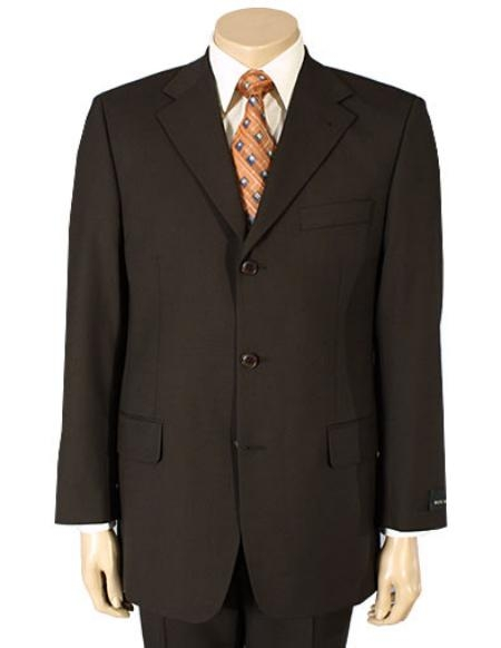 SKU#MU99 Mens Dark Brown 100% Pure Wool. (SUPER 120) 2or3-button $125