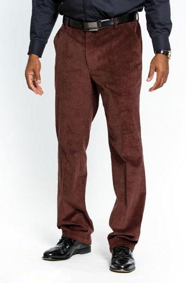 Men's Stylish Flat Front Corduroy Dark Brown Formal Dressy Pant