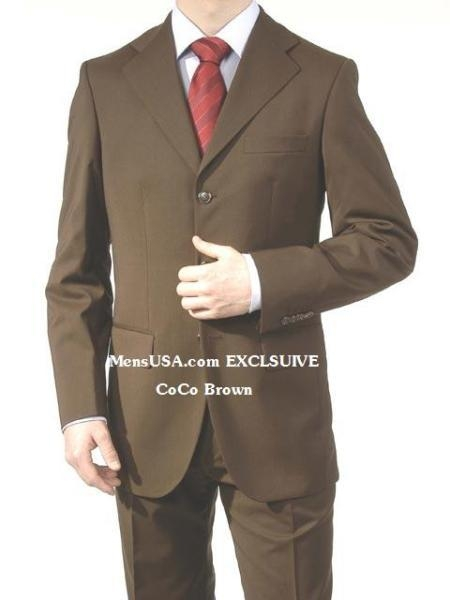SKU#A63_3P Mens Dark Brown Super Wool Feel Poly~Rayon 3 Buttons Dress Business Suits