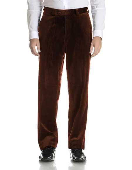 Mens Modern Fit Velvet Flat Front Pant Dark Brown