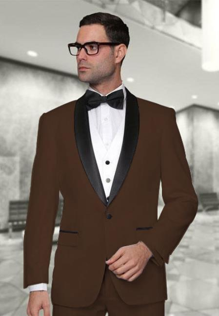 Statement Confidence Mens Dark Brown Modern Fit 3 Piece Shawl Collar Vested Tuxedo Super 150s Wool Jacket + Pants Vest