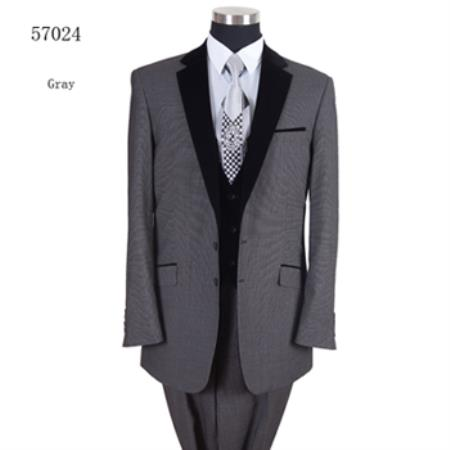 Black Lapeled Vested Formal Dinner Suit