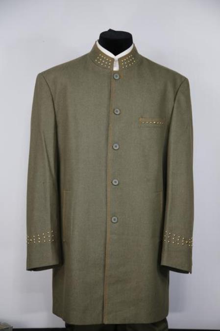 Men's Mandarin Collar Brass Dark Green Mandarin Banded No Collar Suit