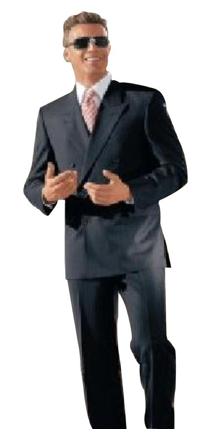Classic fit Double Breasted Suit 100%rayon High Quality  Zippered fly Charcoal Gray Suit - Color: Dark Grey Suit