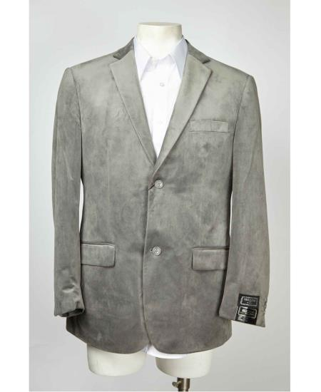 Mens Medium Gray ~ Grey 2 Button Velvet ~ Notch Lapel Cheap Priced Designer Fashion Dress Casual Blazer For Men On Sale Mens blazer