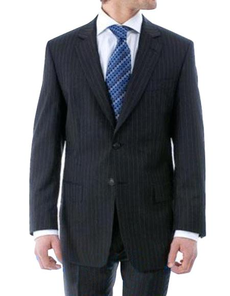 Luxurious High Quality Dark Navy Blue Pinstripe Light Weight Double Vented Ultra Smooth Fabric