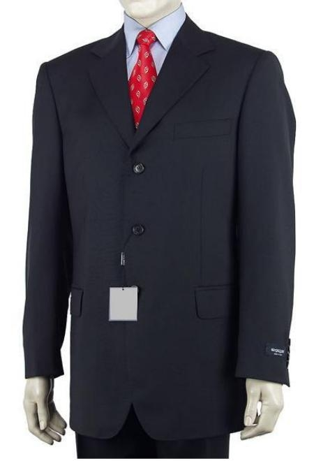 SKU#89L Mens Dark Navy Blue Single Breasted Discount Cheap Dress 3 Button Cheap Suit $79