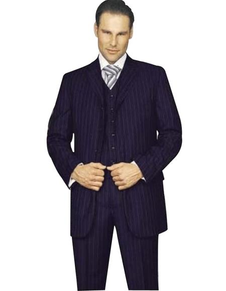Amazing Qality Dark Navy Blue Suit For Men Pinstripe Poly~Rayon wool feel 3 ~ Three Piece Suit Vested Avai