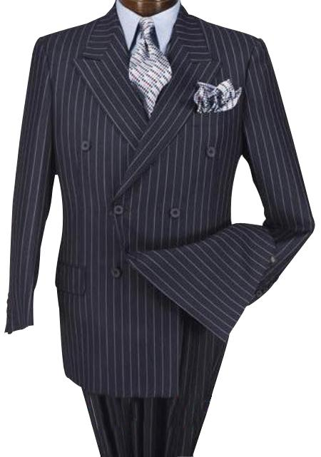 High Quality Dark Navy Blue Suit For Men & Chalk Bold White Pinstripe Double Breaste 100% wool feel poly-ray