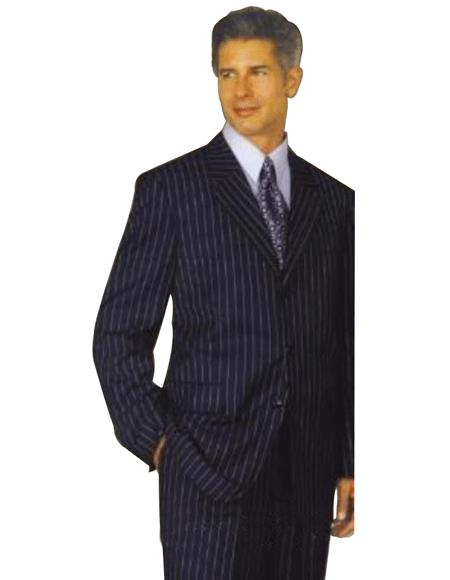 Bold Chalk Pronounce Dark Navy blue Suit For Men & White Pinstripe Three ~ Available in 2 or 3 Buttons style