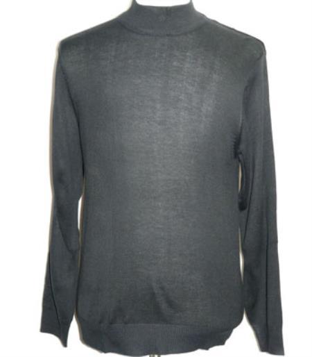 Buy SS-115 Men's INSERCH Dark Navy High Mock Neck Pullover Knit Sweater Long Sleeve