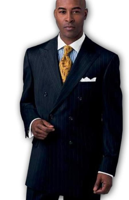 Men's premier quality Online Sale Clearance Classic Signature Double Breasted Suit Wool Suits in Dark Navy Pinstripe $195 (Wholesale Price available)