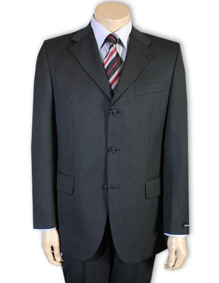 SKU# PY92 Mens Darkest Charcoal Gray 100% Pure Wool Feel Rayon Viscose (SUPER 120) 3button