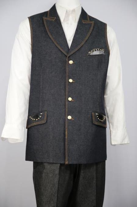 Mens Faux Leather Accents Denim Black Peak Lapel Zoot Suit