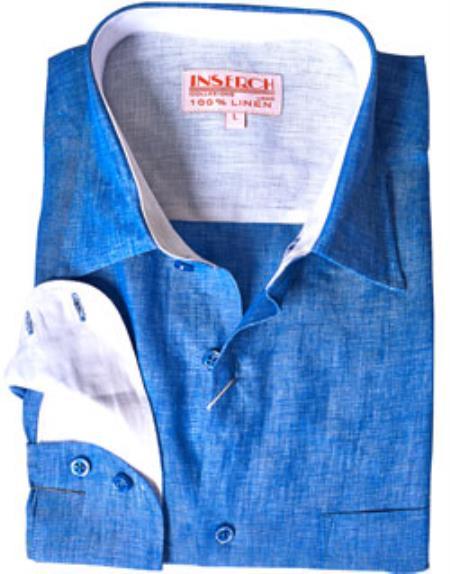 Blue Linen Mens Dress