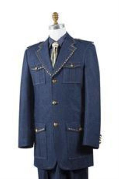 Safari Mens Blue Denim Military Style Jean Fashion Cheap Priced Business Suits Clearance Sale