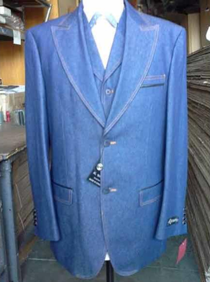 Men's Denim Blue Vested Suit 2 Buttons Pleated Pants
