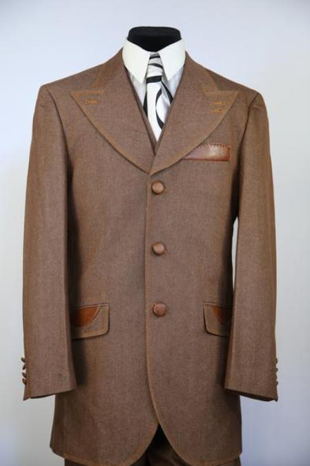 High Peak Lapel Tri Pocket Denim Brown Zoot Suit
