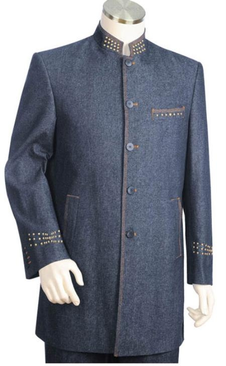 SKU#MN4863 Mens 2pc Denim Cotton Fabric Suit Blue $199