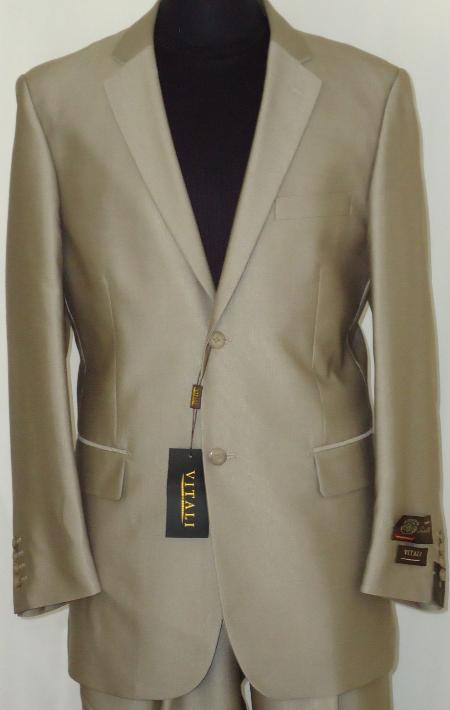 SKU#BGE3343 Mens Designer 2-Button Shiny Beige Sharkskin Suit